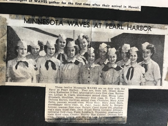 A Honolulu newspaper covered the arrival of WAVES on Oahu in early 1945—a novelty, as the Navy did not allow them to serve in overseas territories until late 1944. Verna is in back row, center.