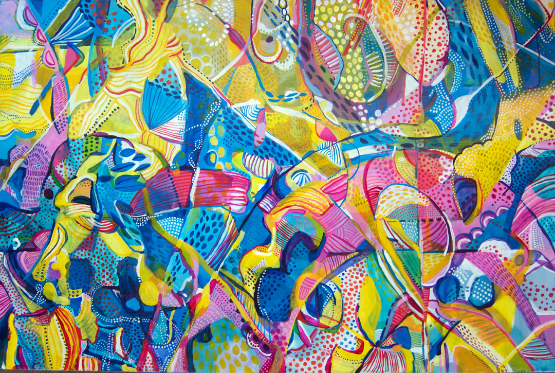 "Life Begins 2016 36x24"" acrylic on canvas"