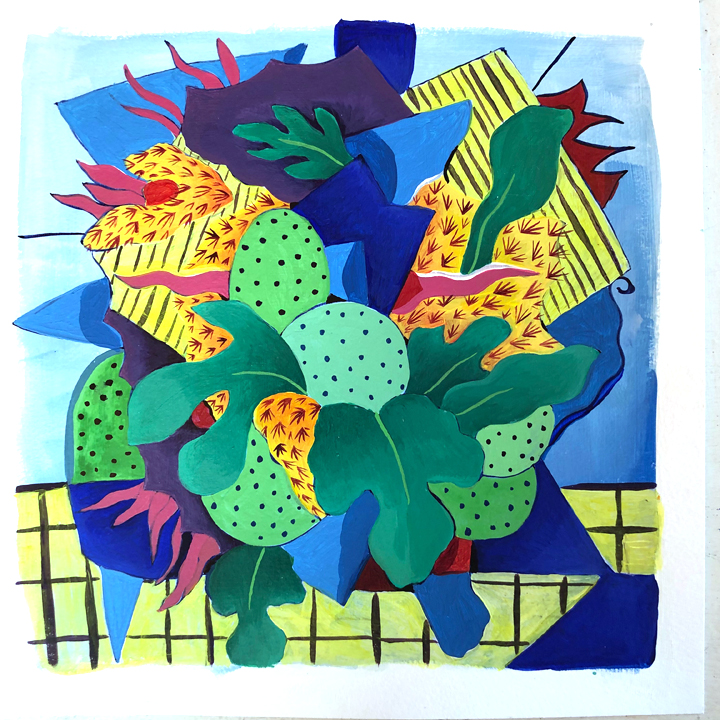 Painting on paper, inspired by plants on the island