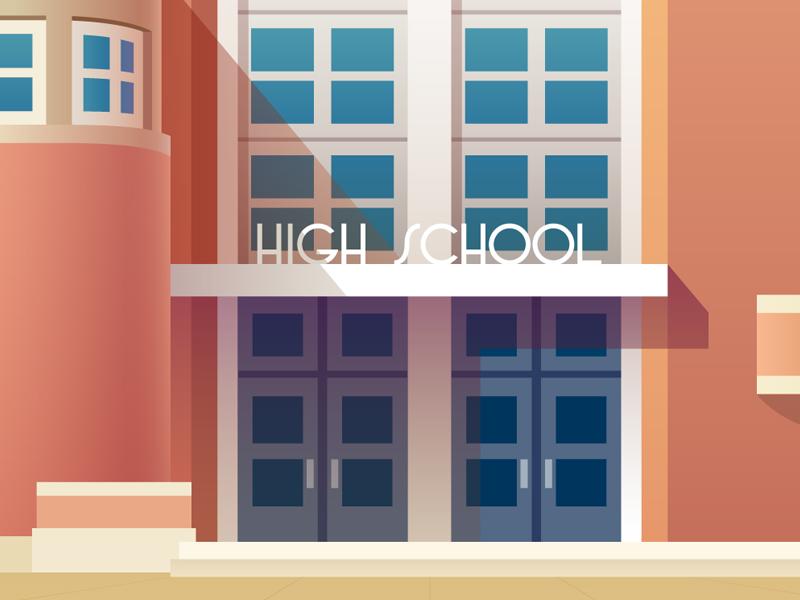 The Art Deco school entrance.