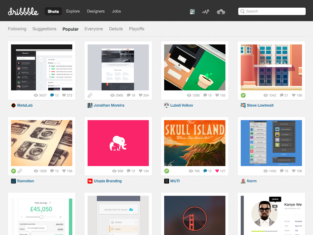 Screenshot of Dribbble with my art in 4th place.
