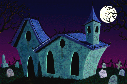 This cemetery piece is my first full digital illustration created in 1990 using Photoshop 2.1 and drawn with a mouse.