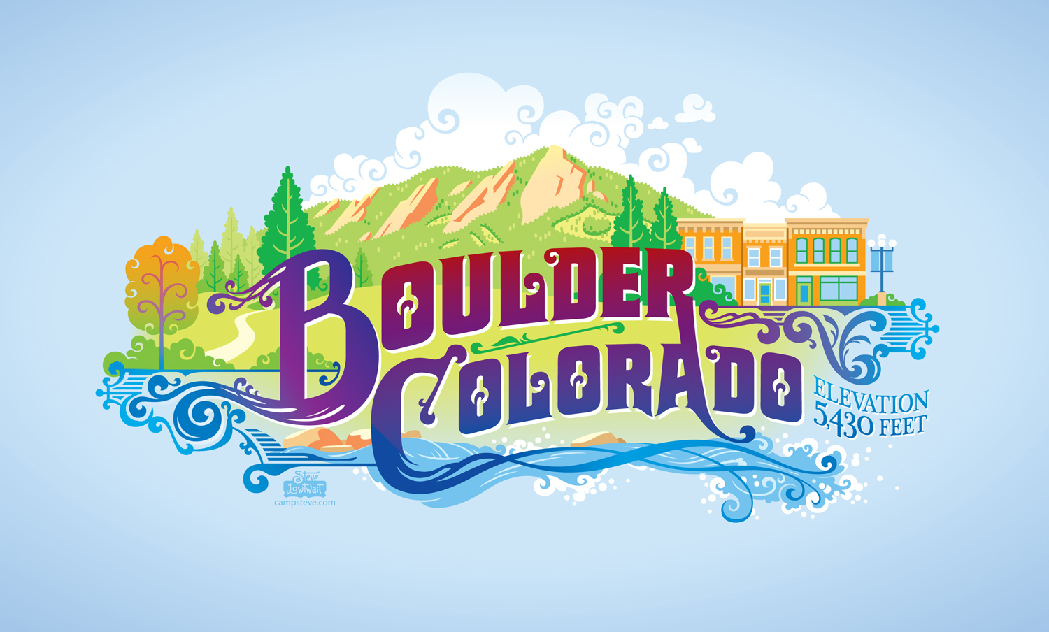 Boulder graphic  • Illustration for bicycle baskets on public bicycle rentals in Boulder, Colorado.  Client: B-Cycle