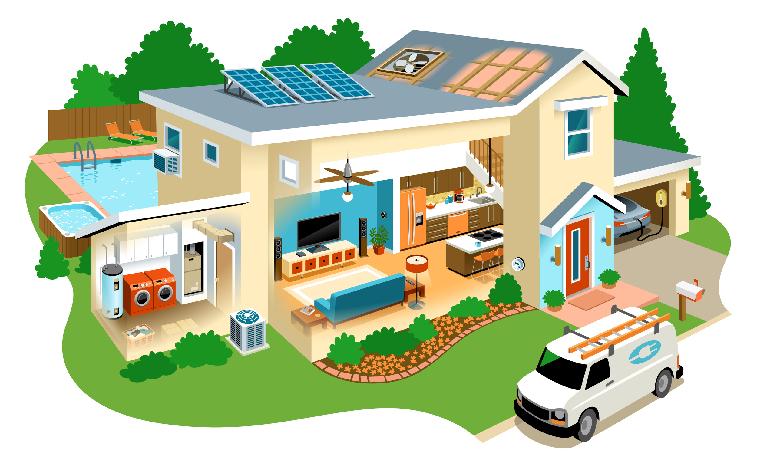 Energy House  • Interactive house with clickable elements to help customers learn about energy savings.  Client: Simple Energy