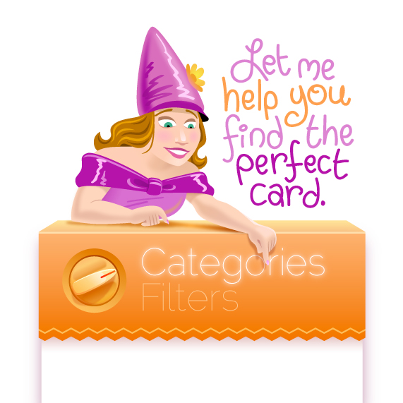 Card Finder  • Character design encouraging customers to search for greeting cards.  Client: Card Gnome