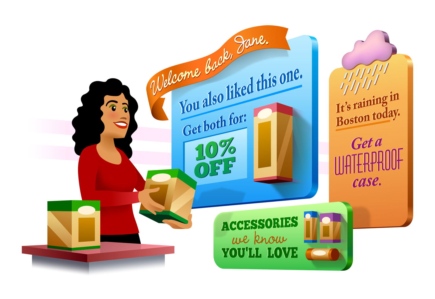 E-commerce Personalization  • An illustration about giving customers a customized experience online.  Client: Monetate