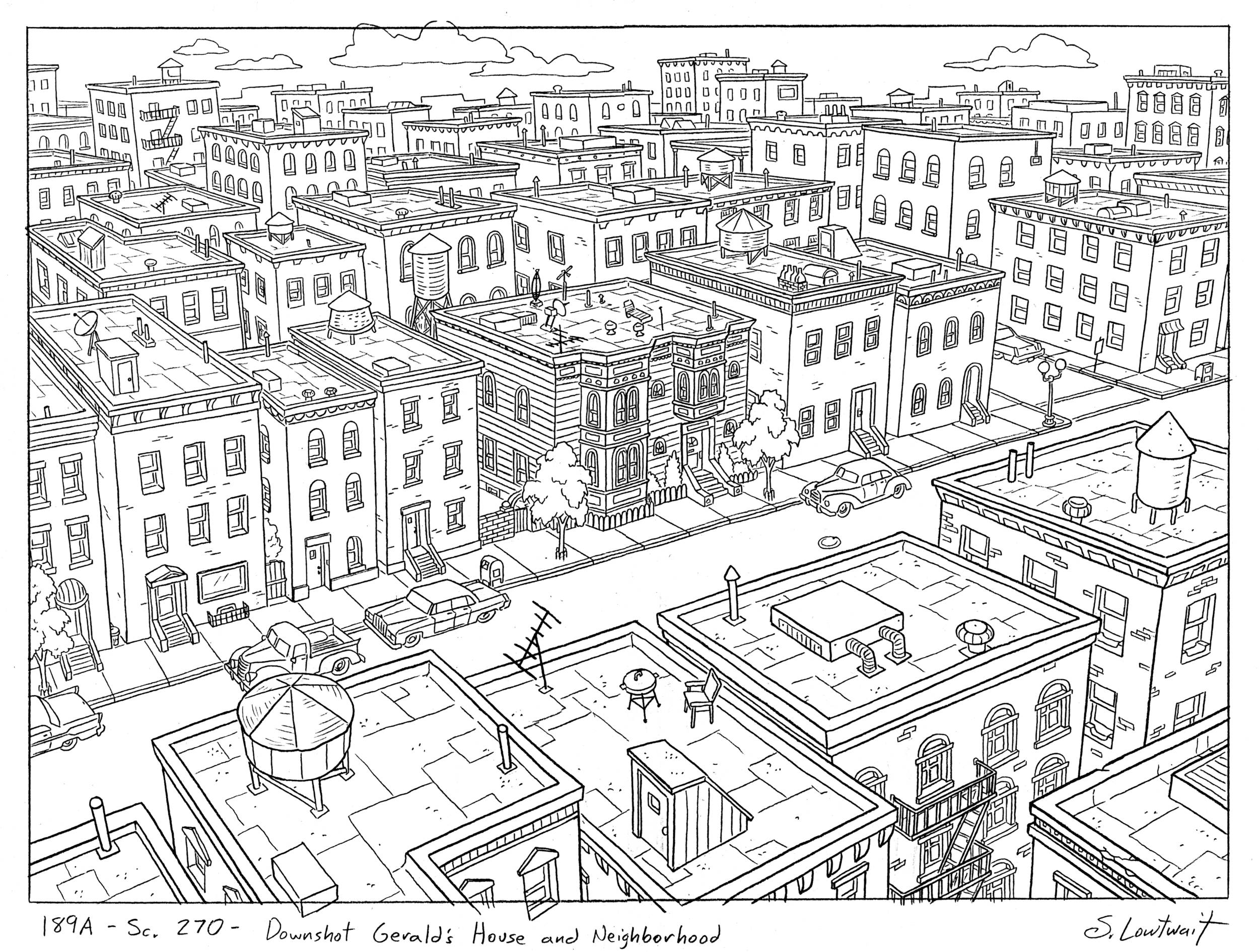 Gerald's house and neighborhood. These grand cityscapes full of windows took serious time.