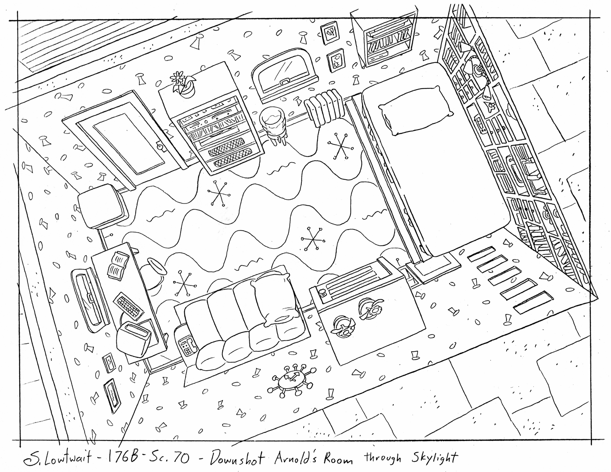 Arnold's bedroom through the skylights. I didn't design his room, but I drew it many, many times.