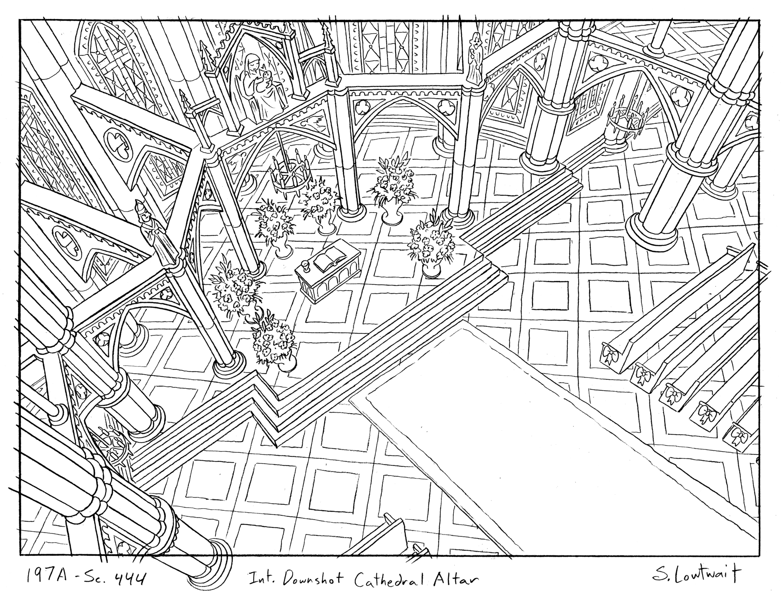 Architecturally complex perspective and pattern. Arnold and Helga got married here in one of her fantasies.