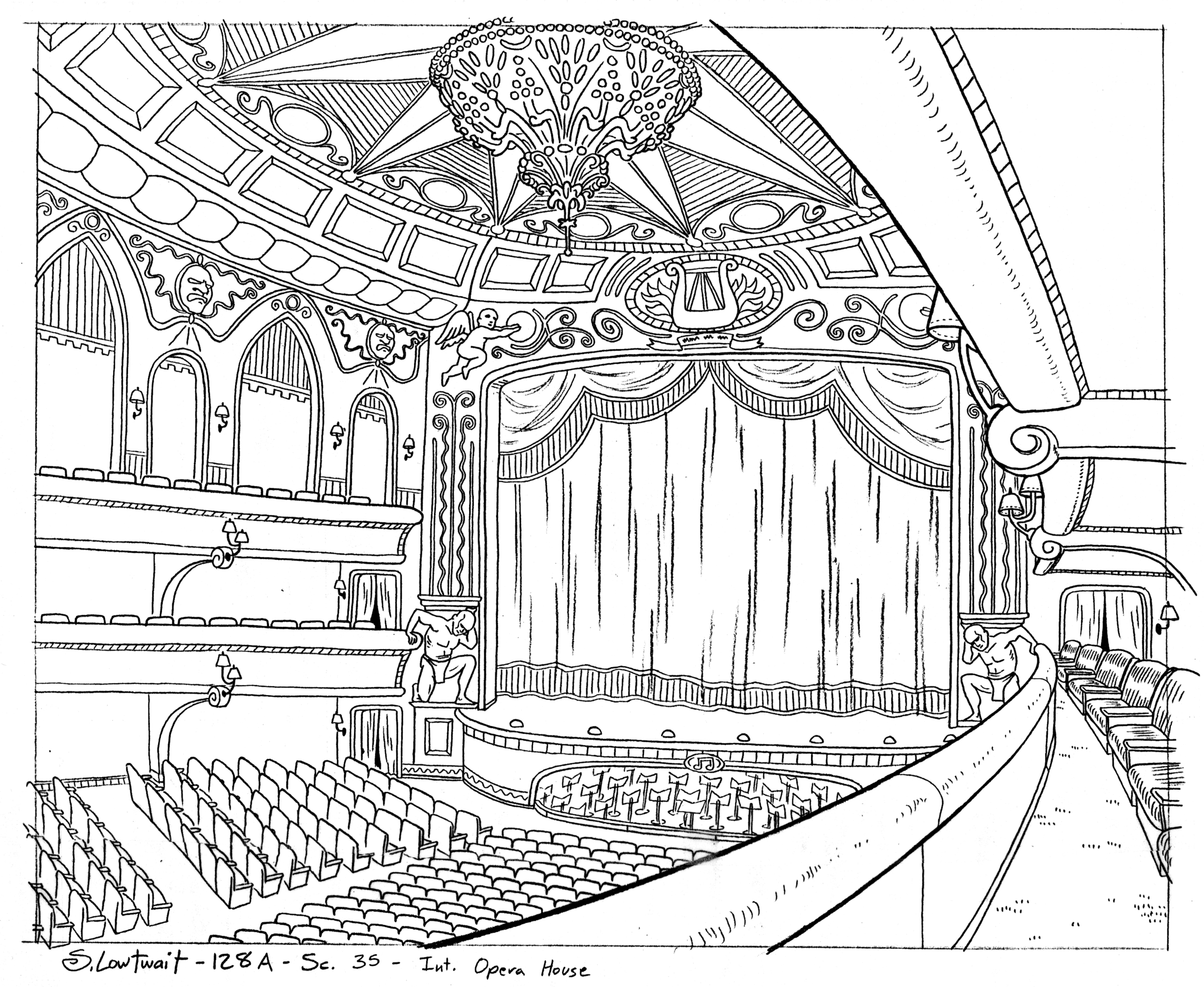 The elegant opera theater from the popular musical episode, What's Opera, Arnold?