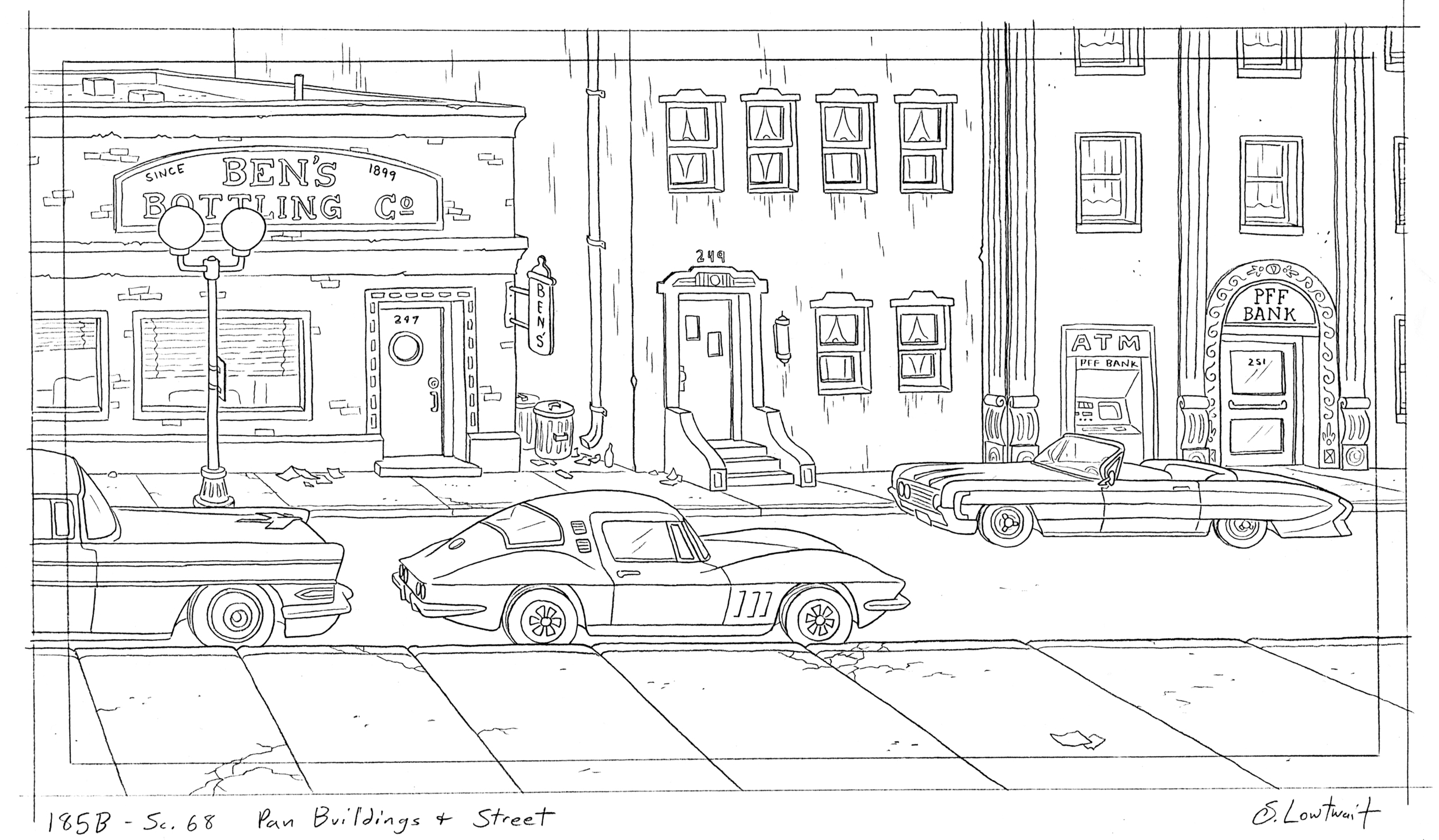 Cars! I don't think anyone in Arnold's city had a car built after 1980. I particularly liked drawing 1950s and 60s cars.