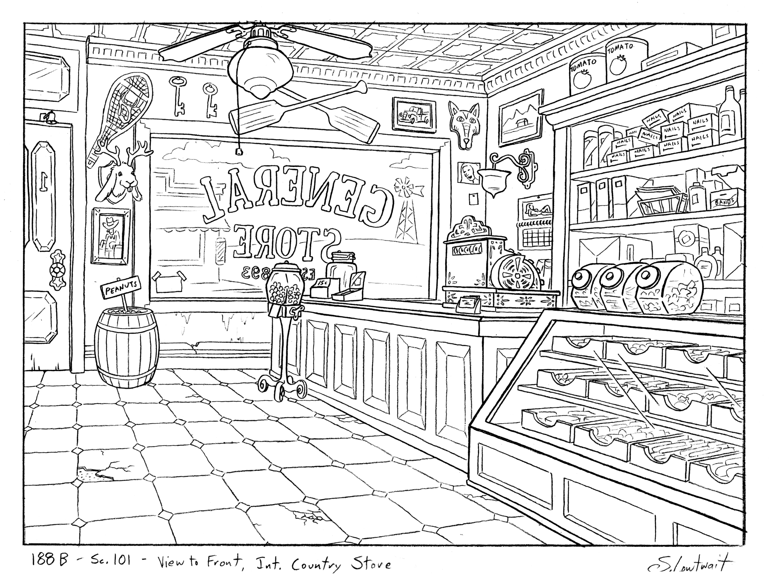 Here's the inside of that general store from the last scene. Jackalope, check!