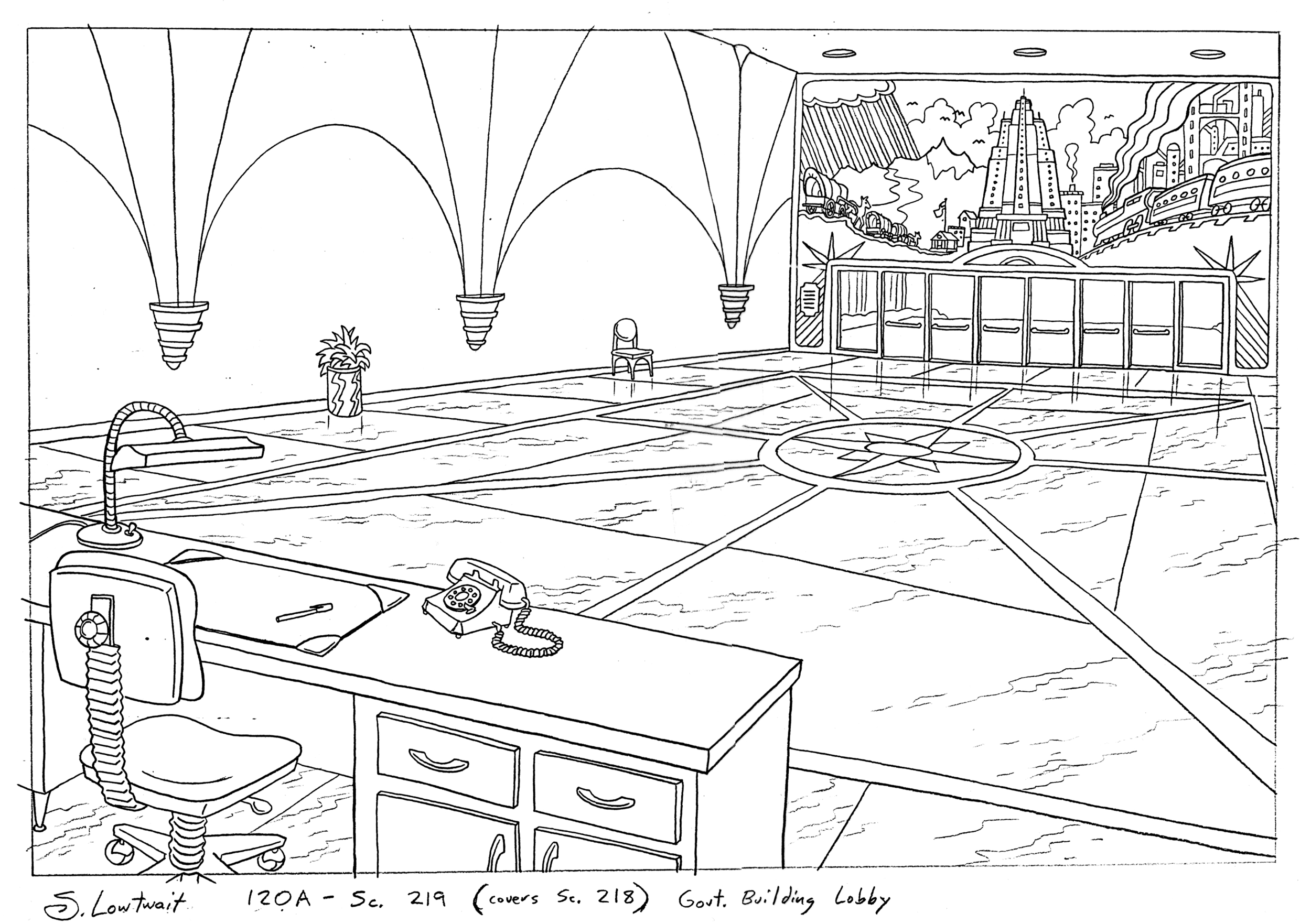 I'm rather fond of that mural I made up for this government building. And I think that lone chair is funny.