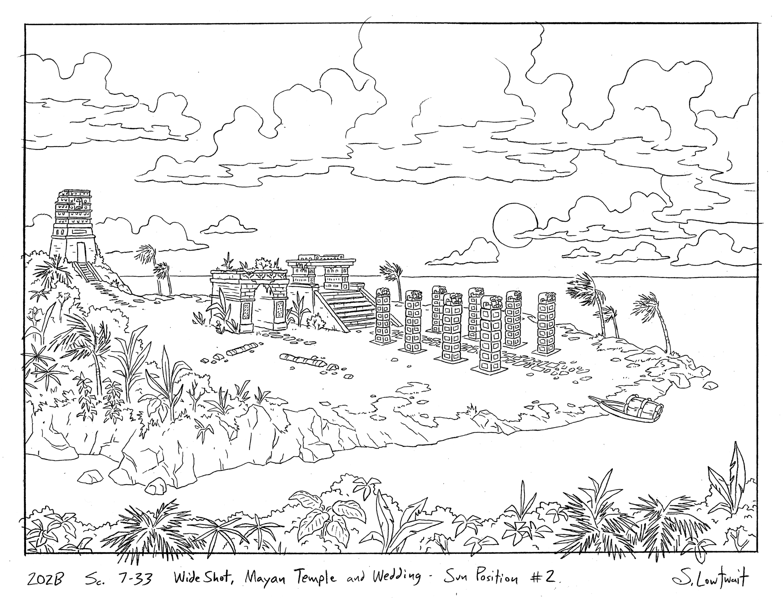The idyllic tropical setting where Arnold's parents got married - the ruins of a Mayan temple at sunset.
