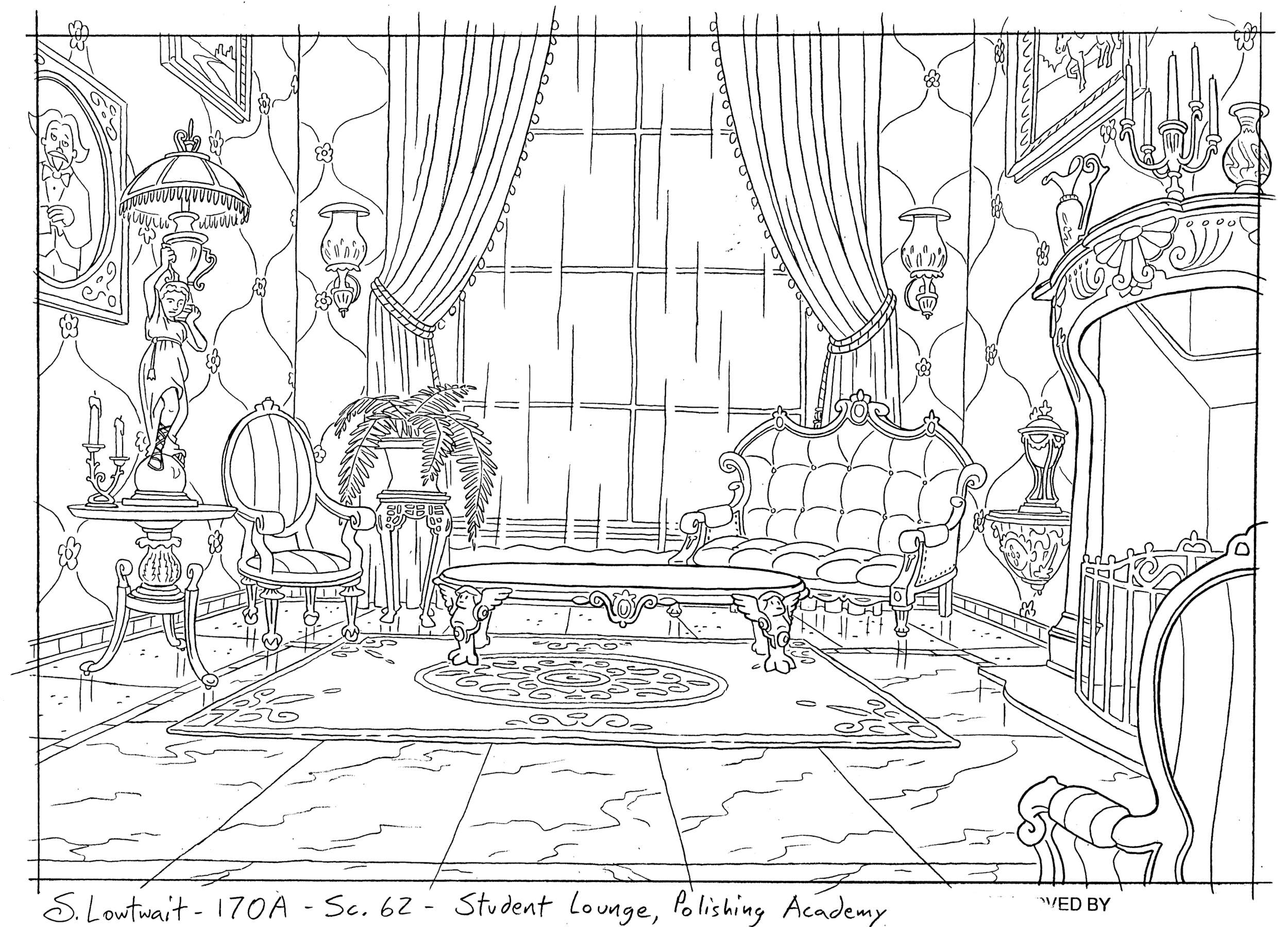 I loved drawing sophisticated, elegant detail as much as I did urban grunge, like in this his high style Victorian lounge.