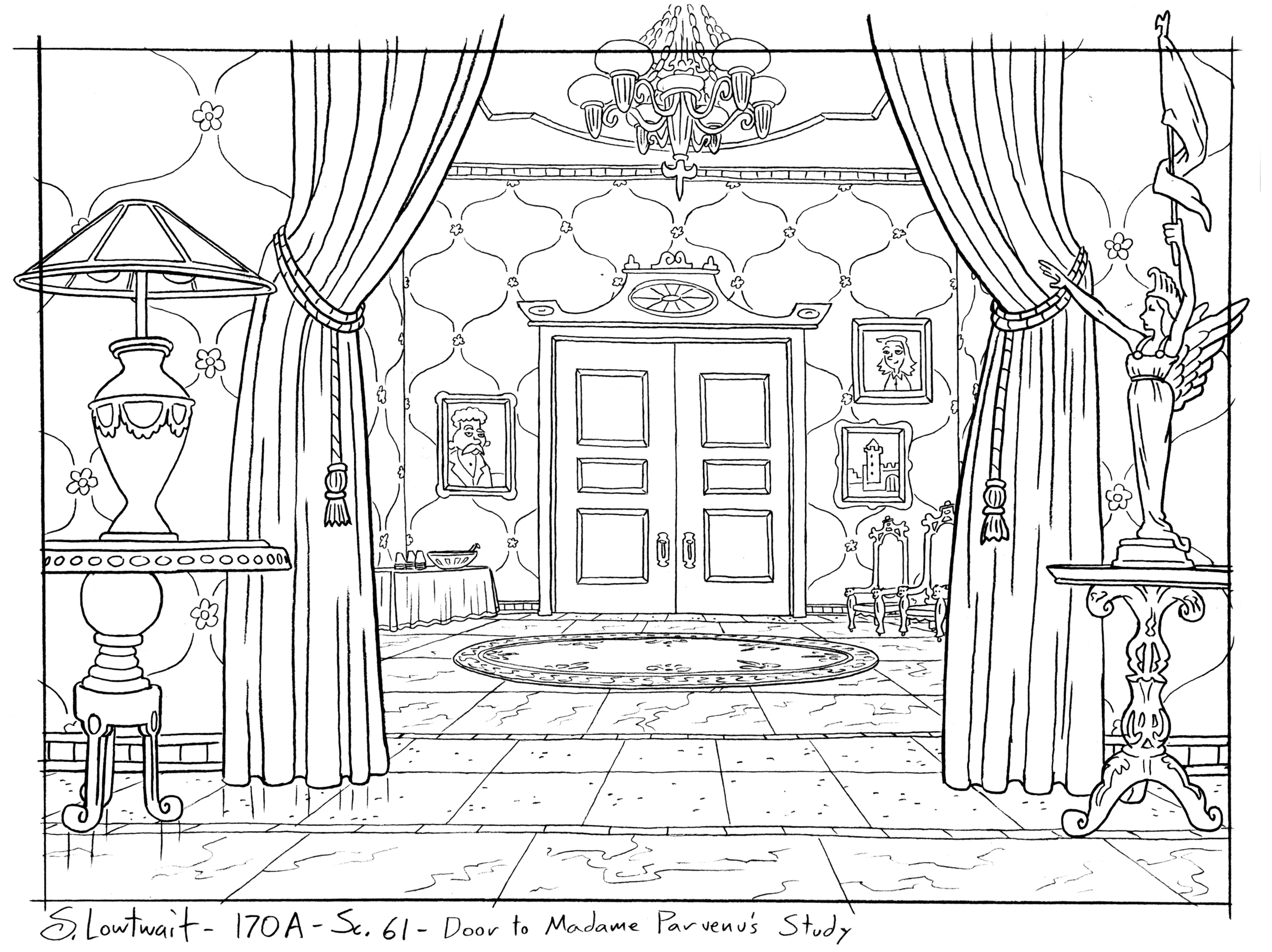 The opposite side of the Victorian lounge looking into another room.