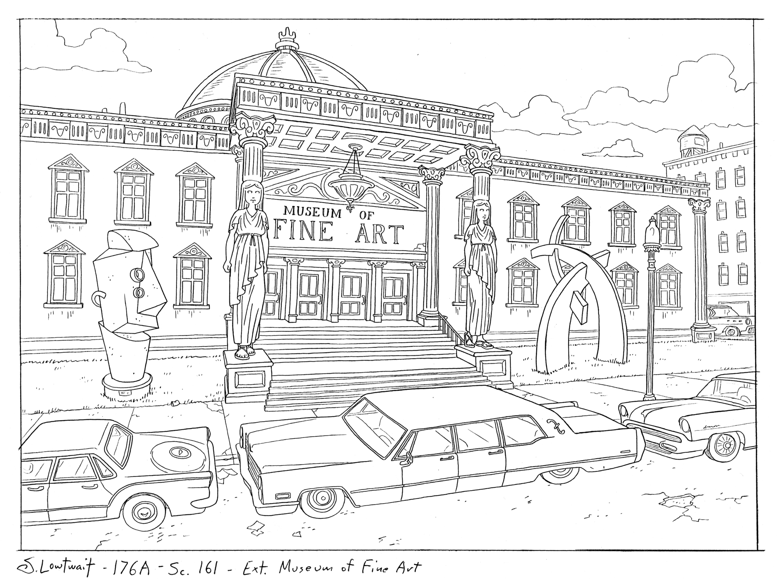 The Museum of Fine Art. Classic figurative columns, modernist sculpture on the lawn, and a limo parked out front. Fancy!