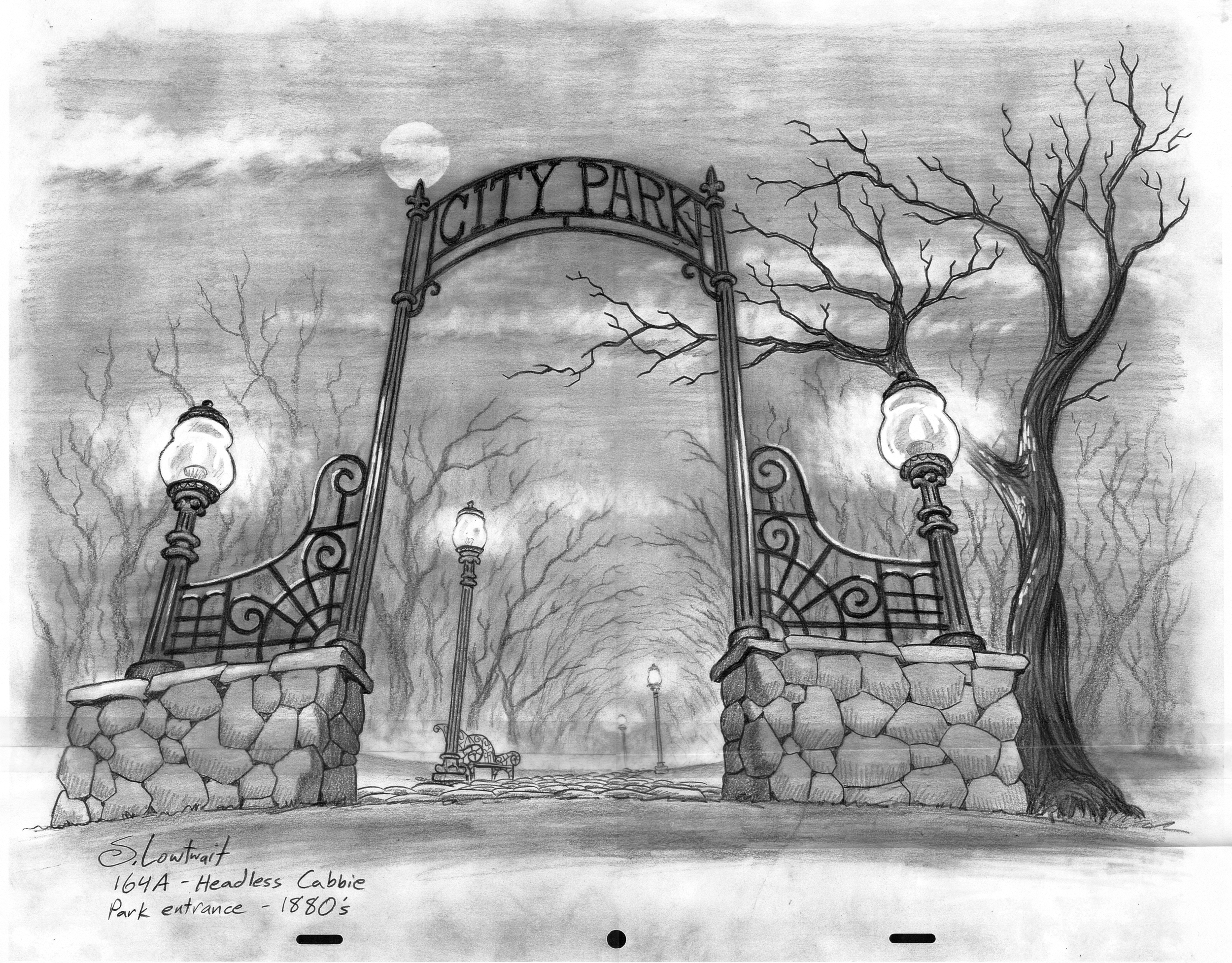 An ominous city park entrance for one of the urban legend episodes.