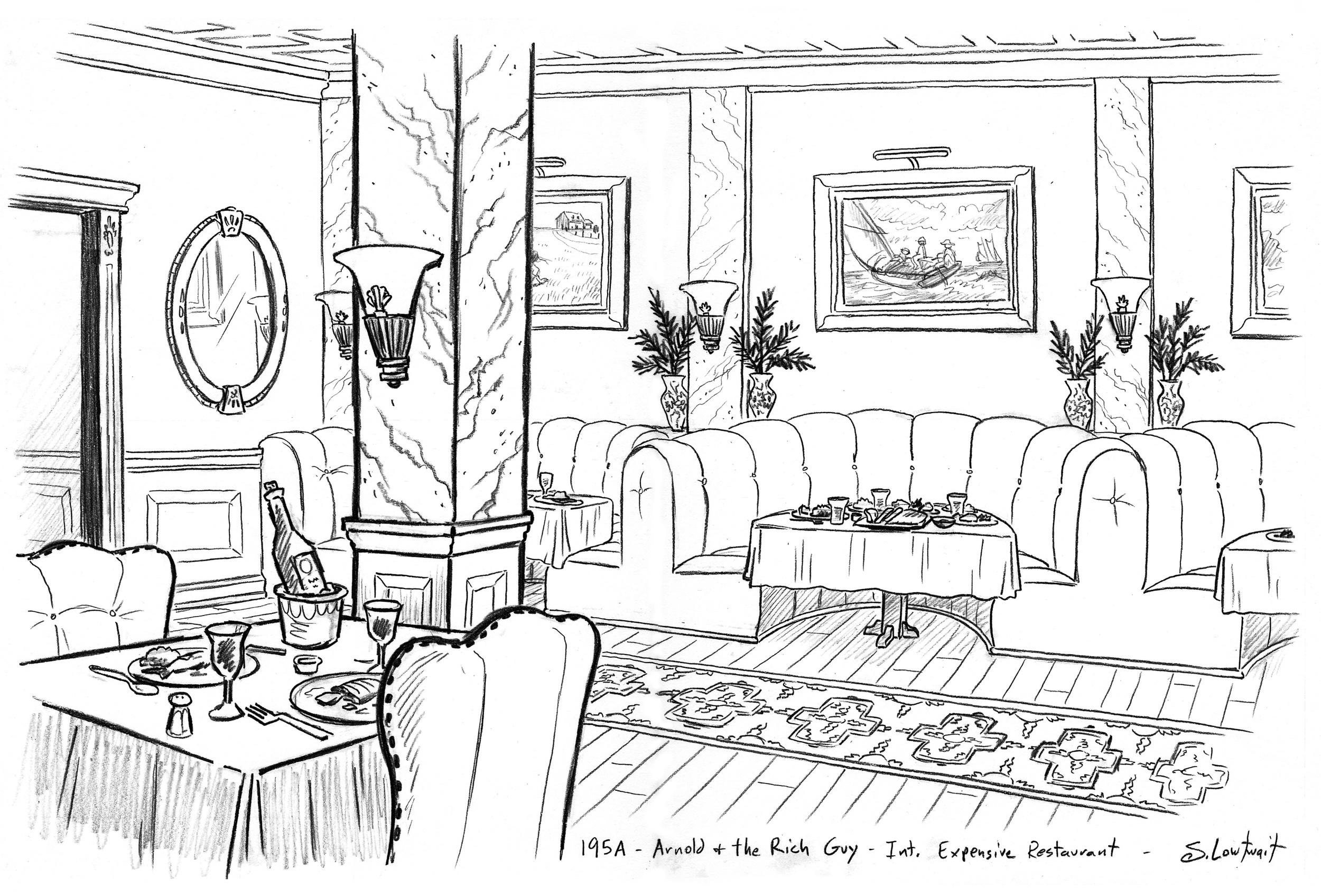 Interior of a fancy restaurant.