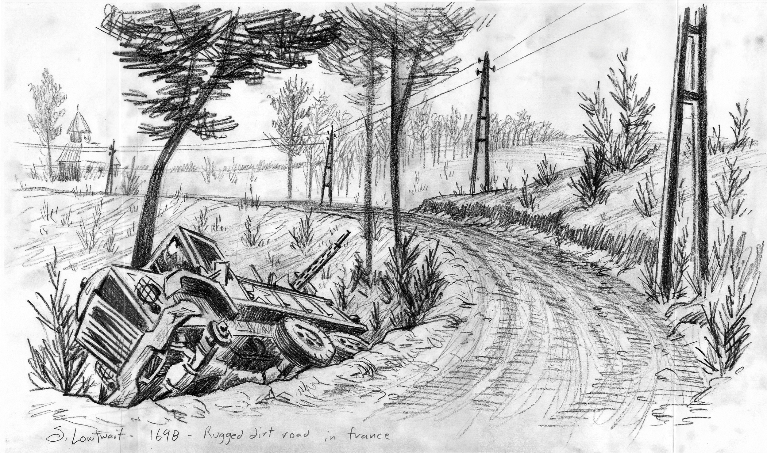 For this road in France during WWII, I researched what European power lines looked like in the 1940s.