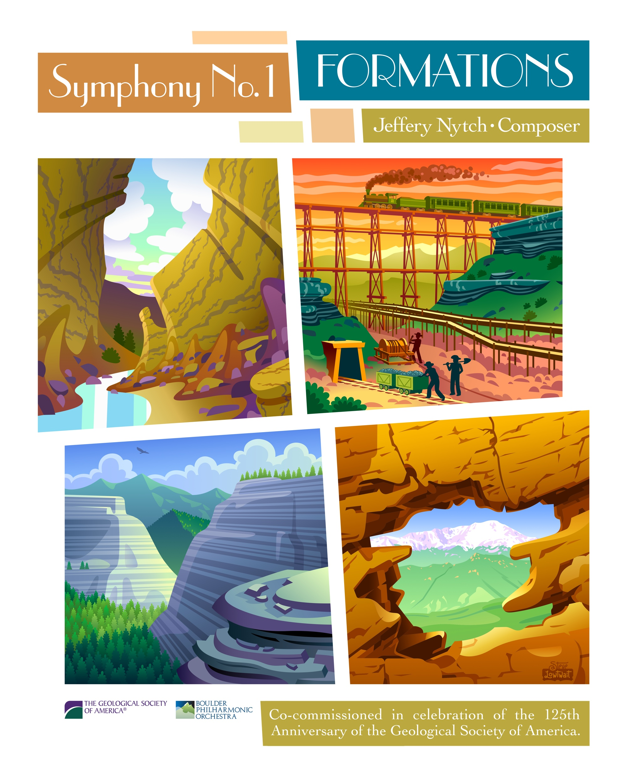 Formations Symphony • Each section of this poster captures the music in a four part symphony about geologic history.  Client: The Geological Society of America