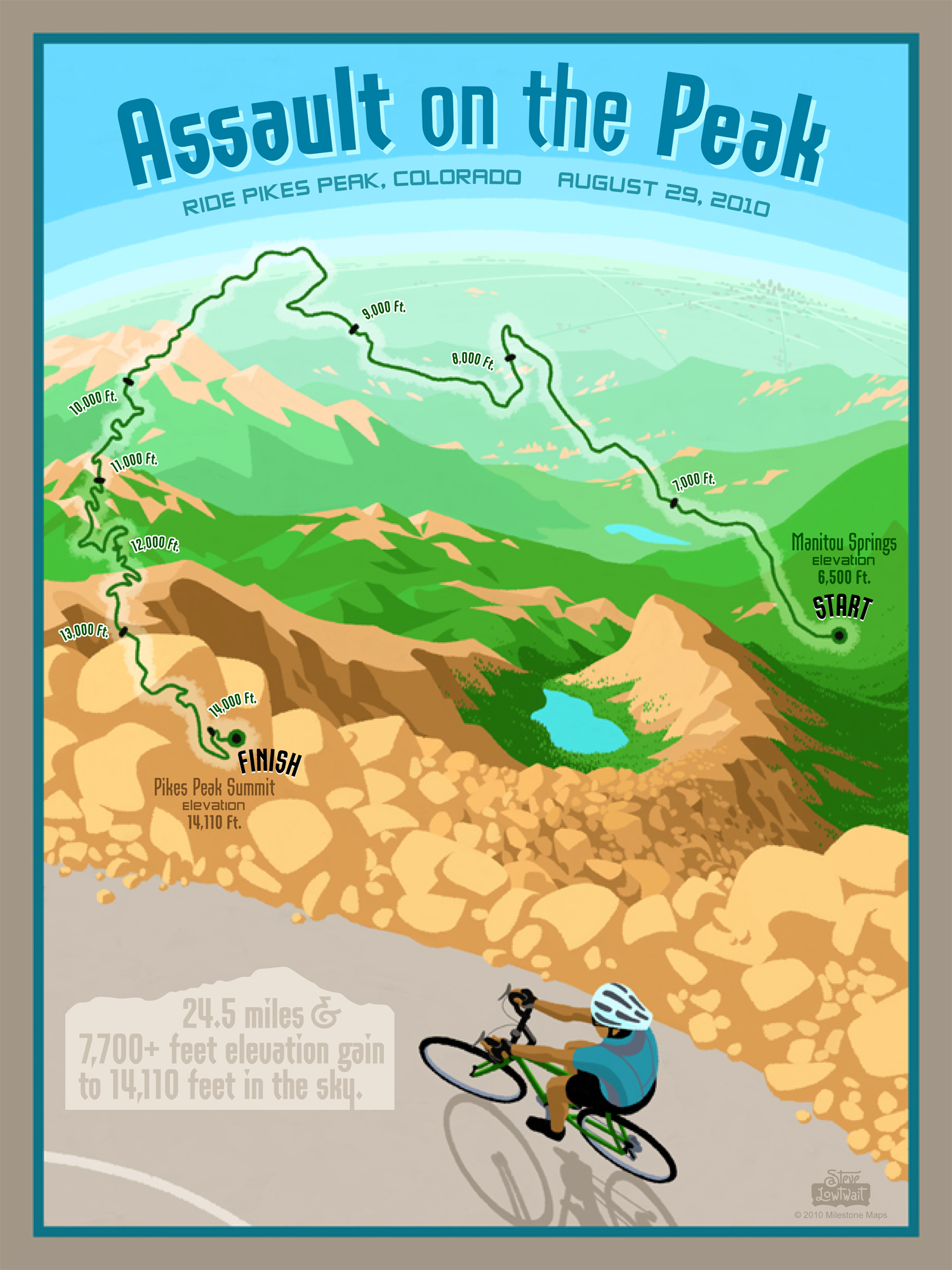 Assault on the Peak • This poster captures the steep climb of riding up to 14k feet elevation.  Client: Milestone Maps