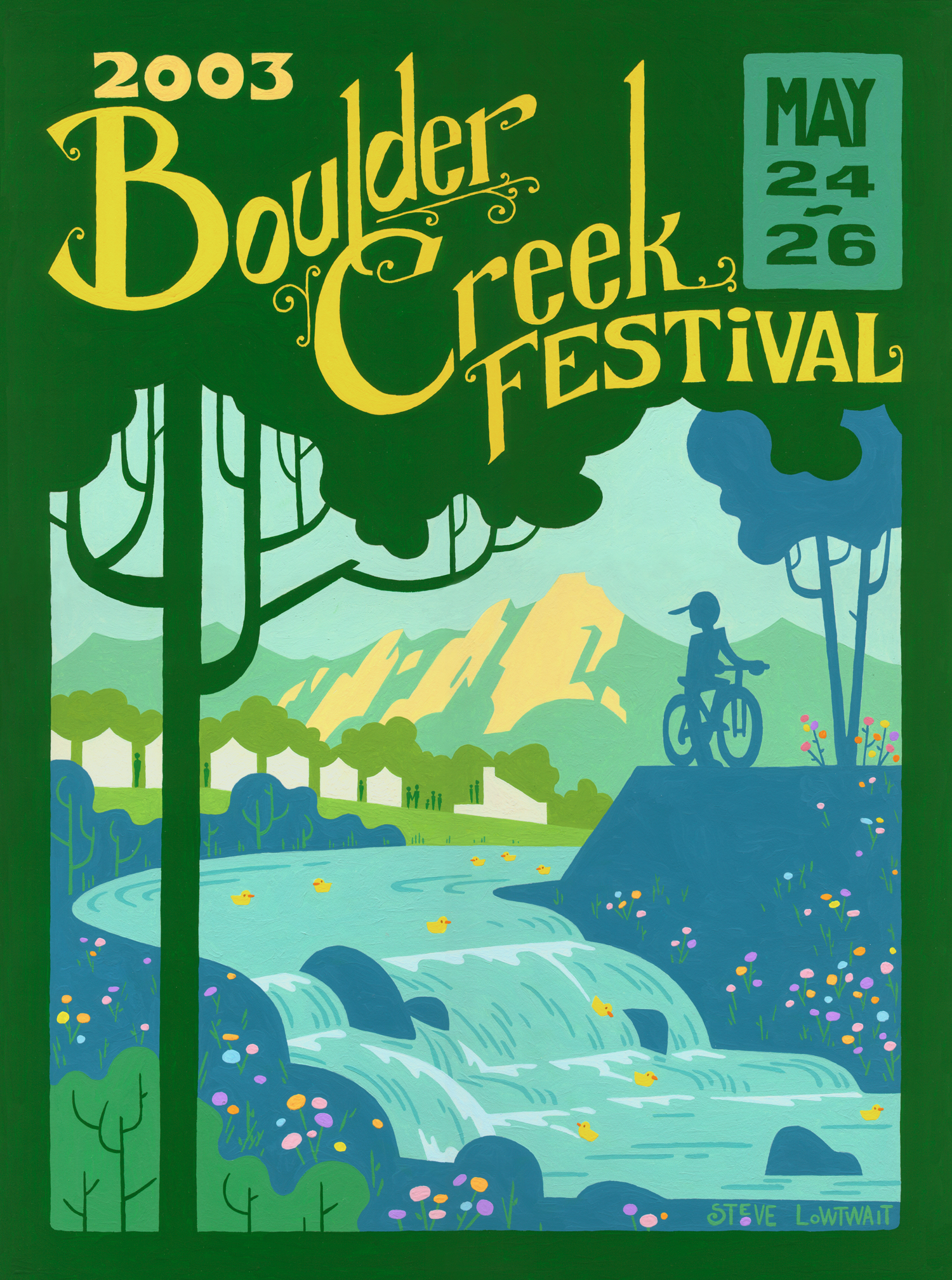Boulder Creek Festival • One of my first poster commissions, this poster promoted the big annual festival on Memorial Day weekend.  Client: Boulder Creek Events