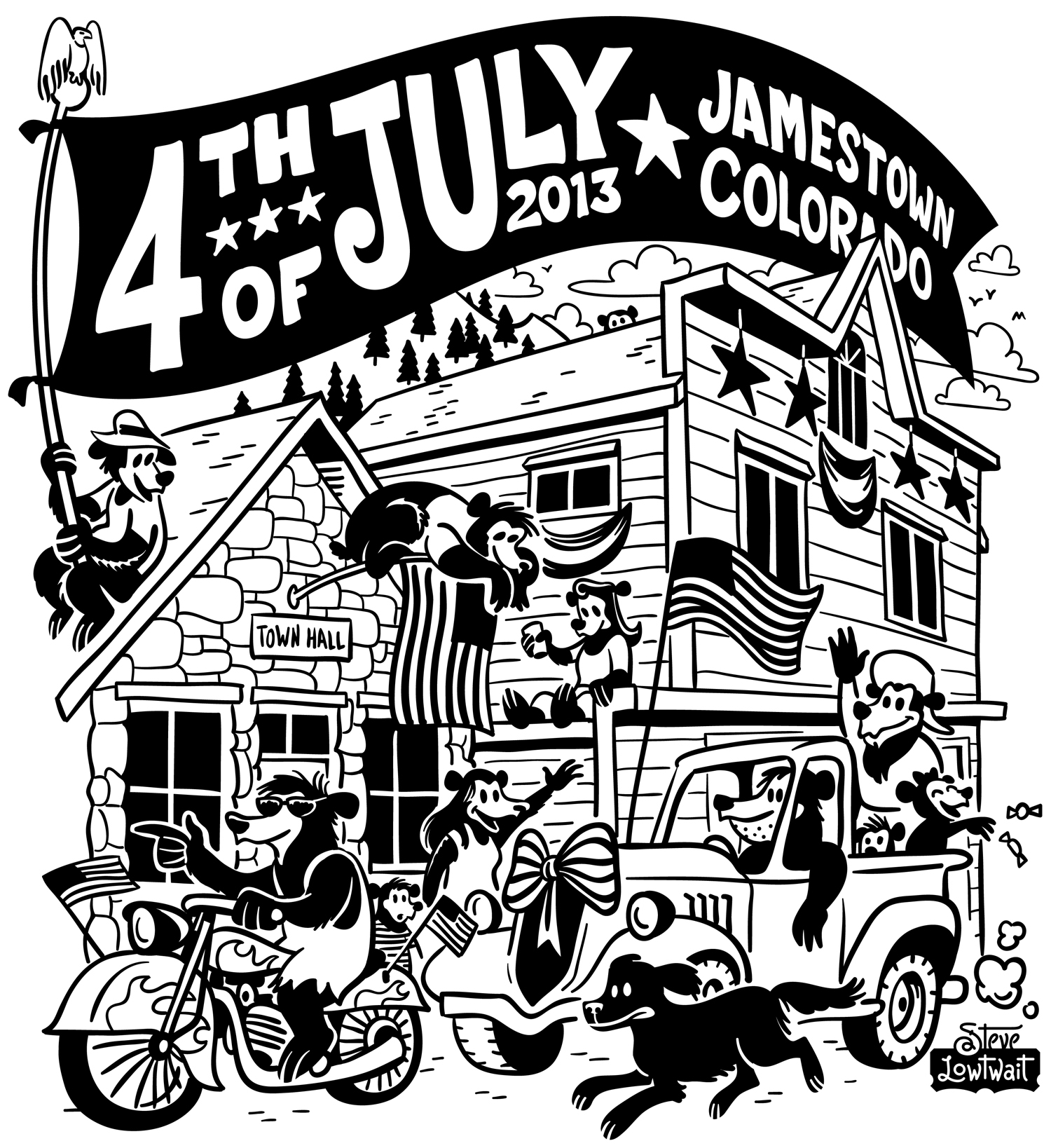 Jamestown 4th of July  • This poster promoted a big patriotic celebration in a very small mountain town. I lived in Jamestown.