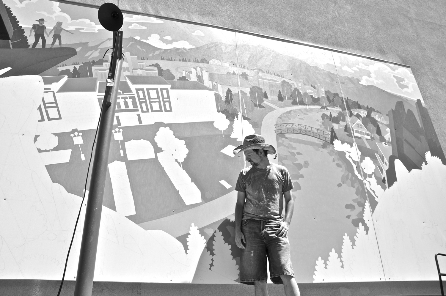 Here I am in the summer sun creating the largest piece I've ever done.