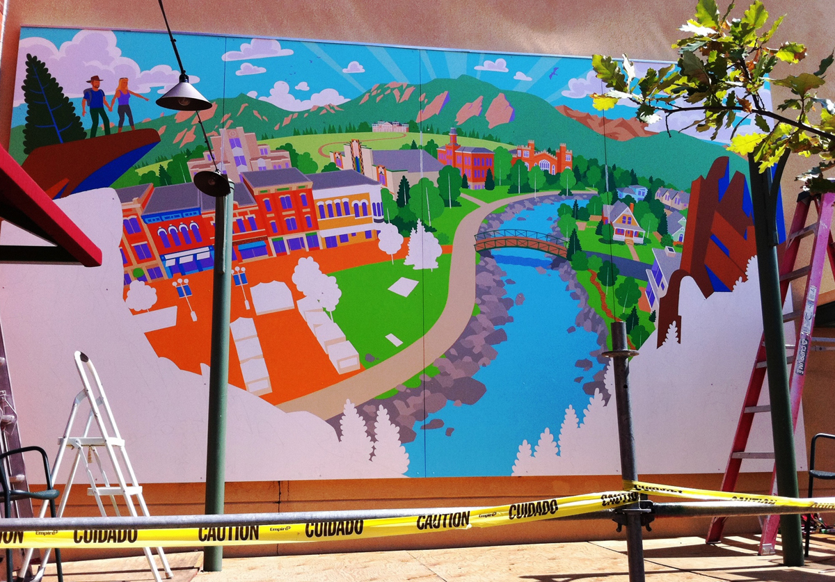 Most of the center of the mural was taking shape at this point.