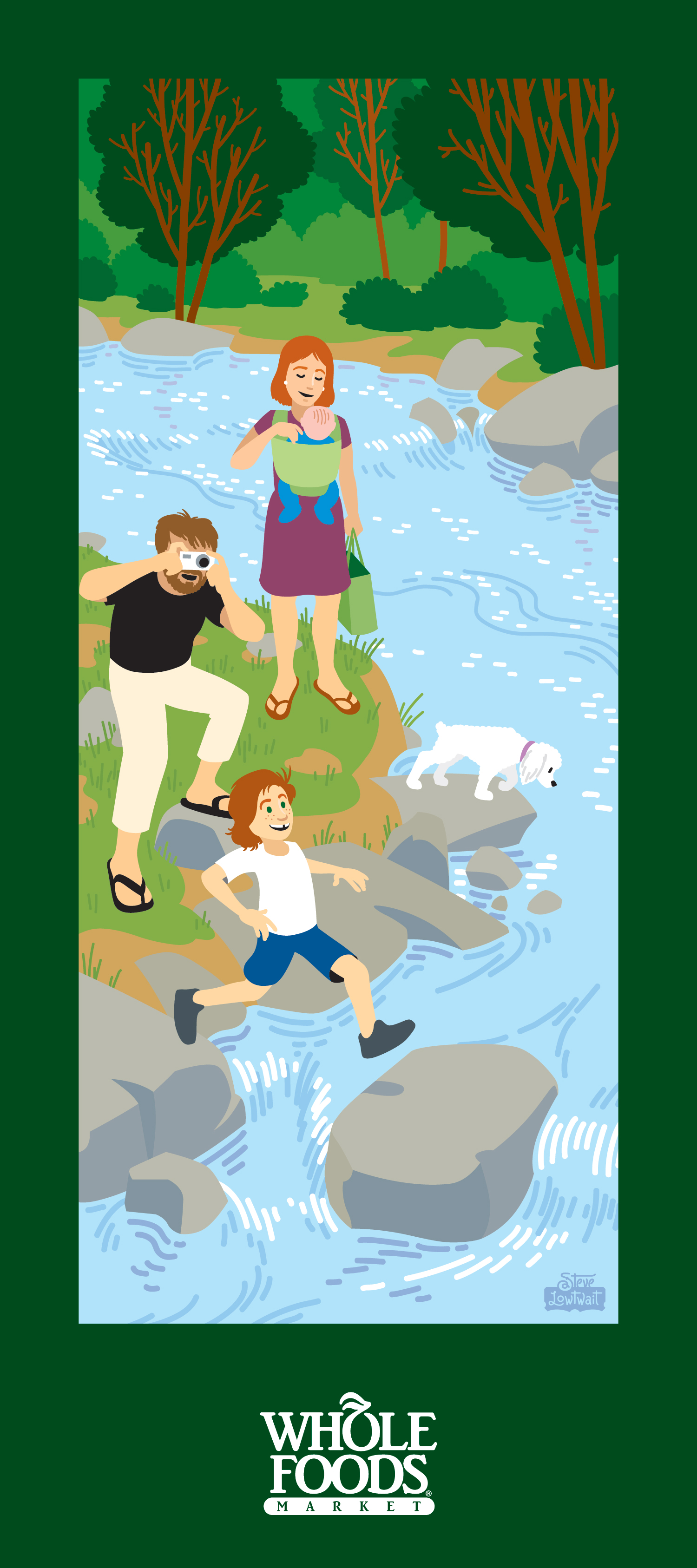 Boulder scene: Family along Boulder Creek.