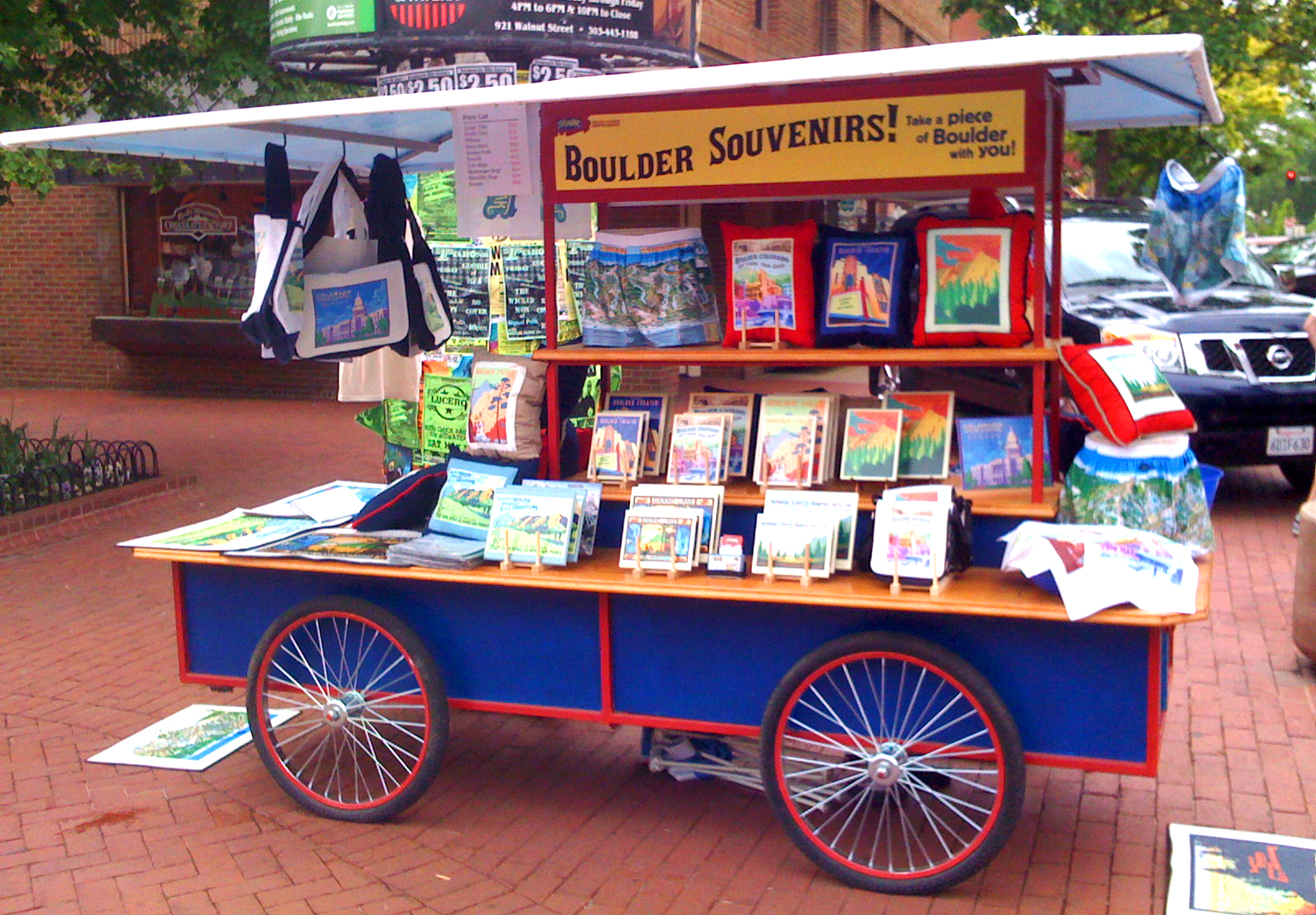 I once co-owned a cart that sold my art on anoutdoor mall.