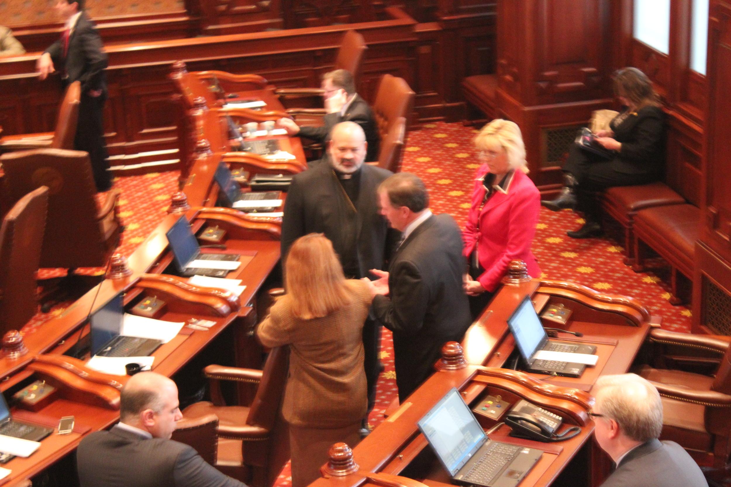 His Grace with Senator Bradley and other senators on the senate chamber floor.