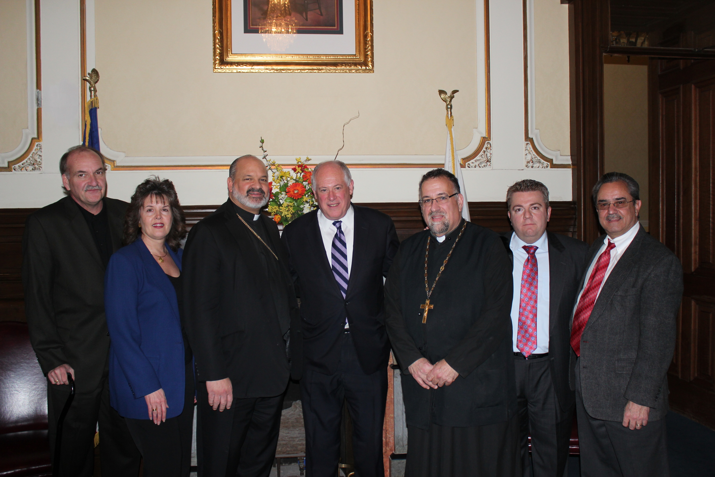 In the Office of the Governor. From left to right: Frank and Katena Lagouros, His Grace Bishop Demetrios, Governor Pat Quinn, Fr. George Pyle, George Vranas and Nick Xamis.