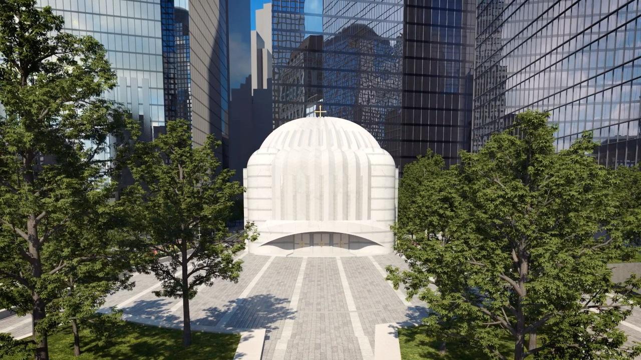 Architectural rendering of St. Nicholas Greek Orthodox Church, Ground Zero