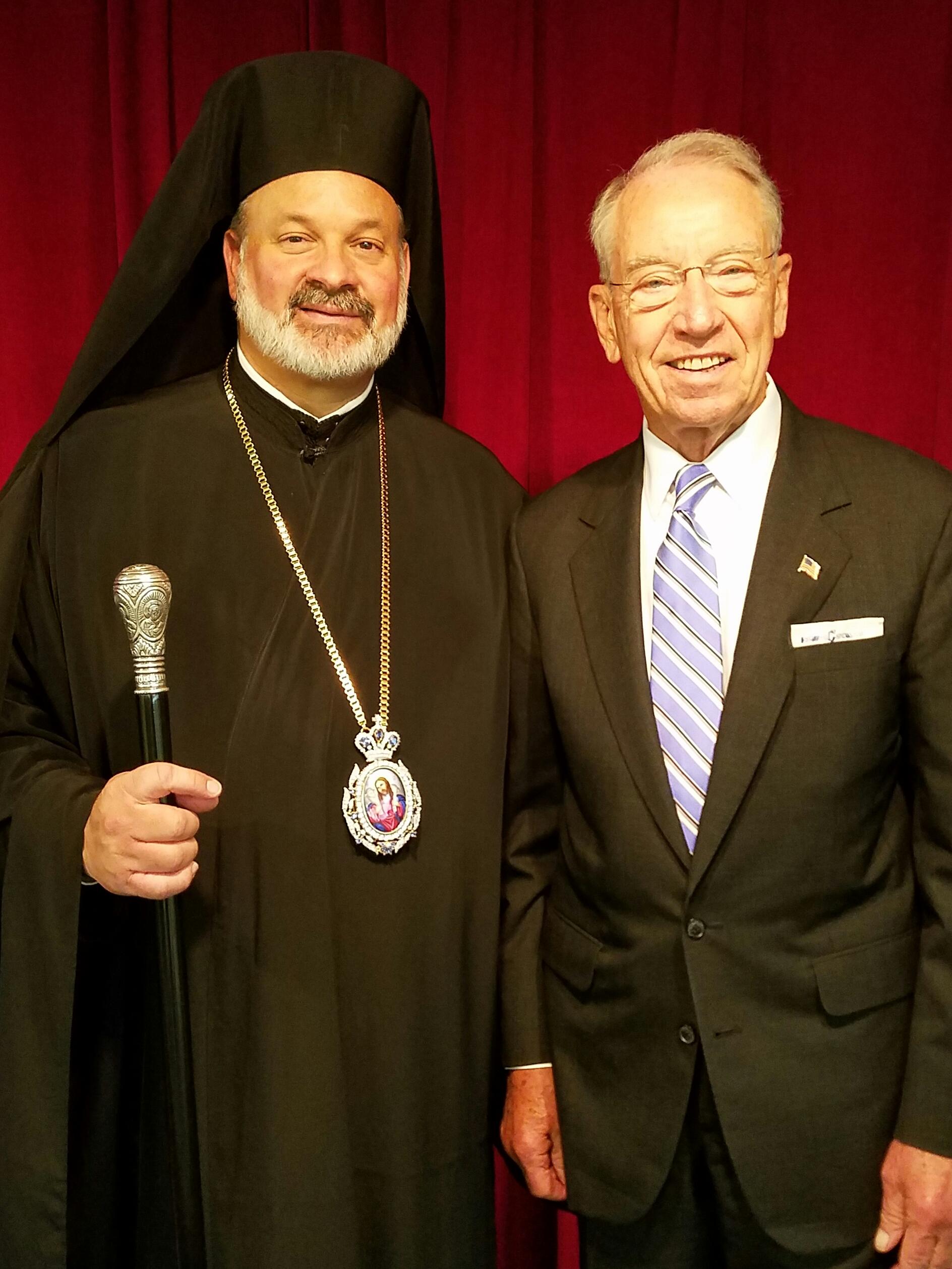 His Grace Bishop Demetrios with United States Senator Chuck Grassley