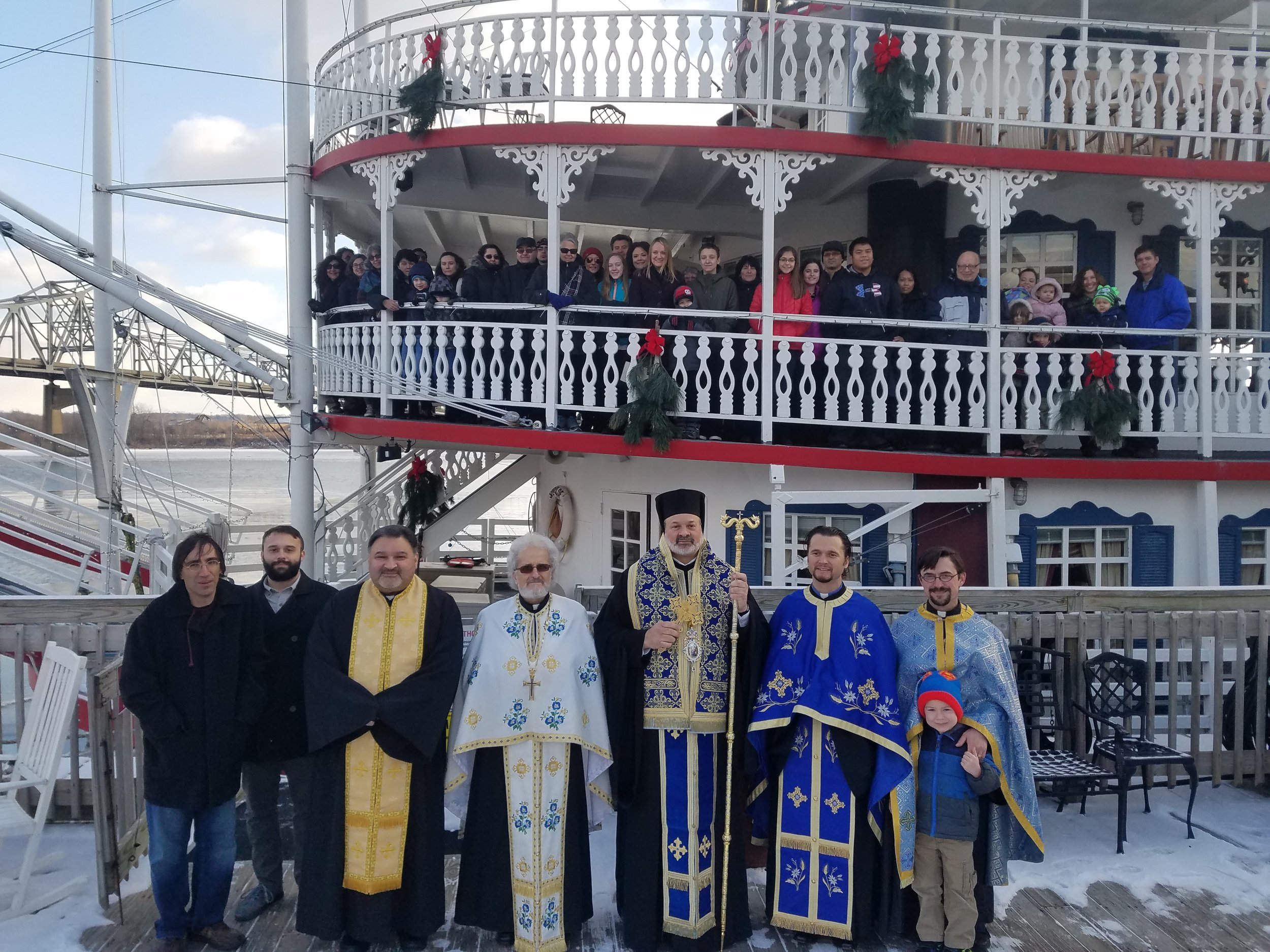 His Grace Bishop Demetrios in Peoria, Illinois for the annual blessing of the waters at the Illinois River.