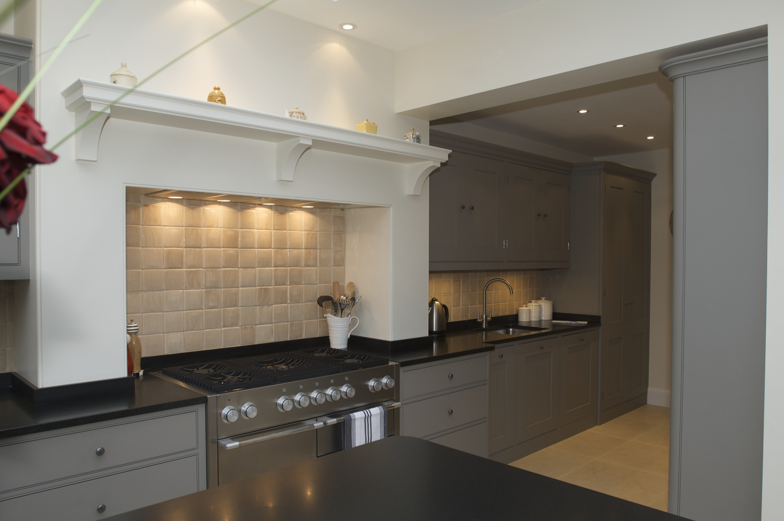 The chimney breast works as the perfect housing for the cooker