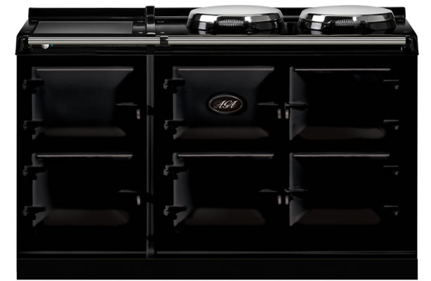 The model in our showroom is a sleek black 5-oven Aga Total Control