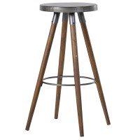 Tall Round Metal/Wood Bar Stool