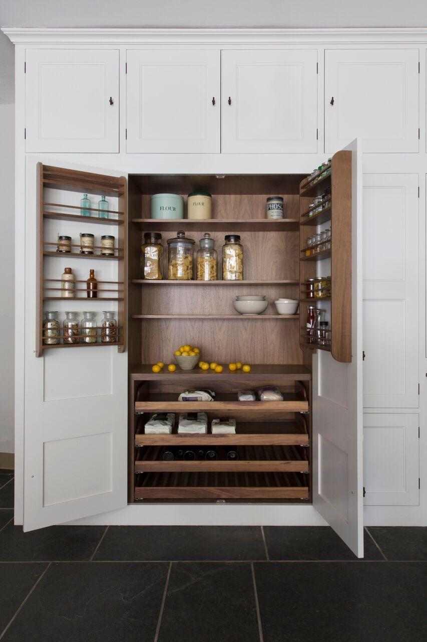 Double larder with walnut veneer interior