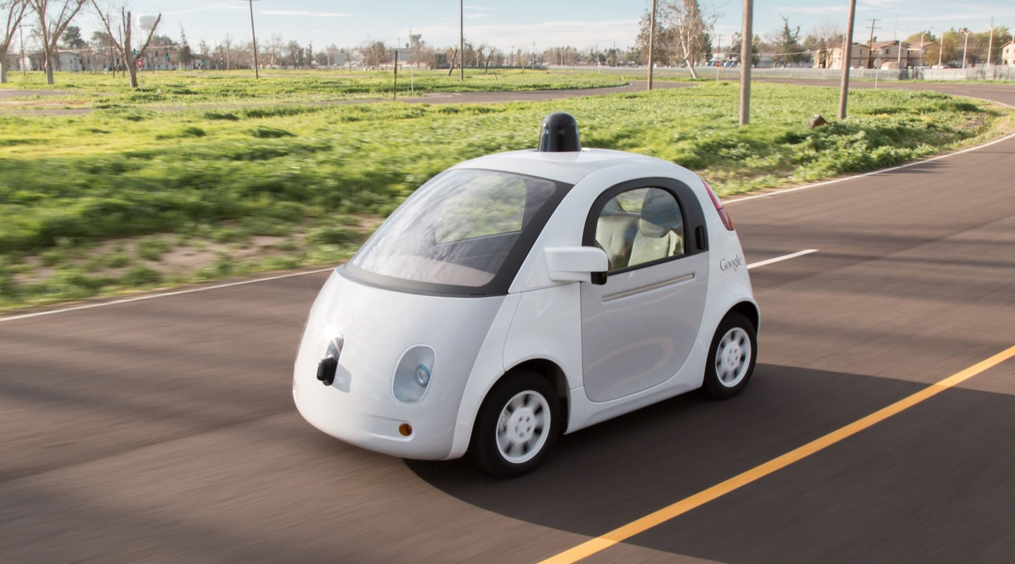 Google's new fully self driving car, features no steering wheel.