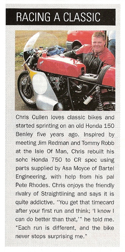 Chris Cullen was featured in the November 2004 issue of Classic & Motorcycle Mechanics.