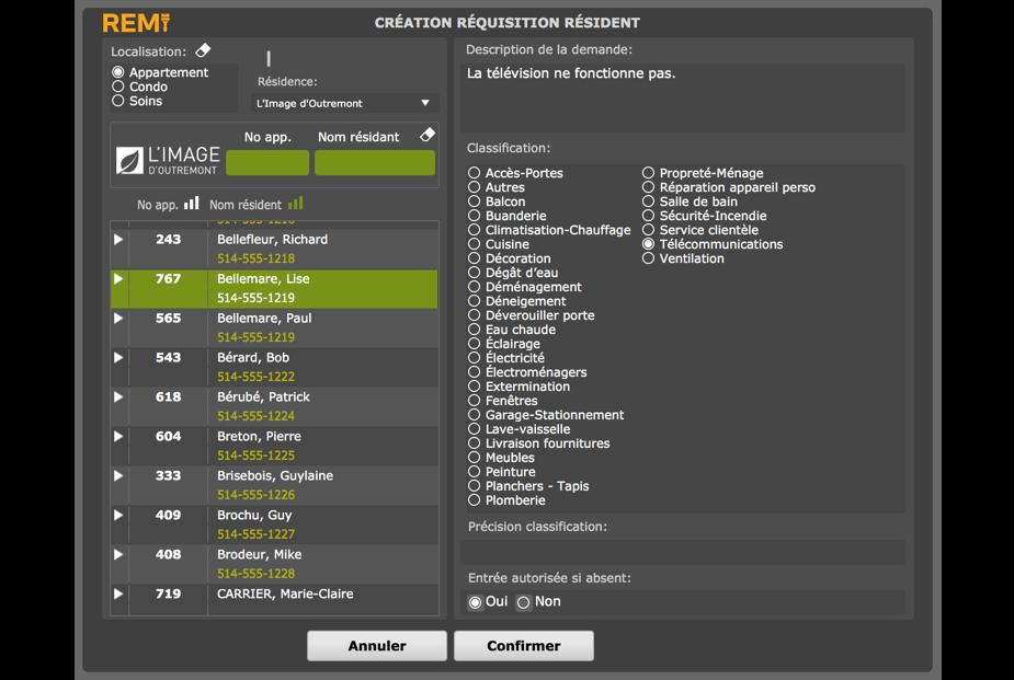 Interface de création de demandes