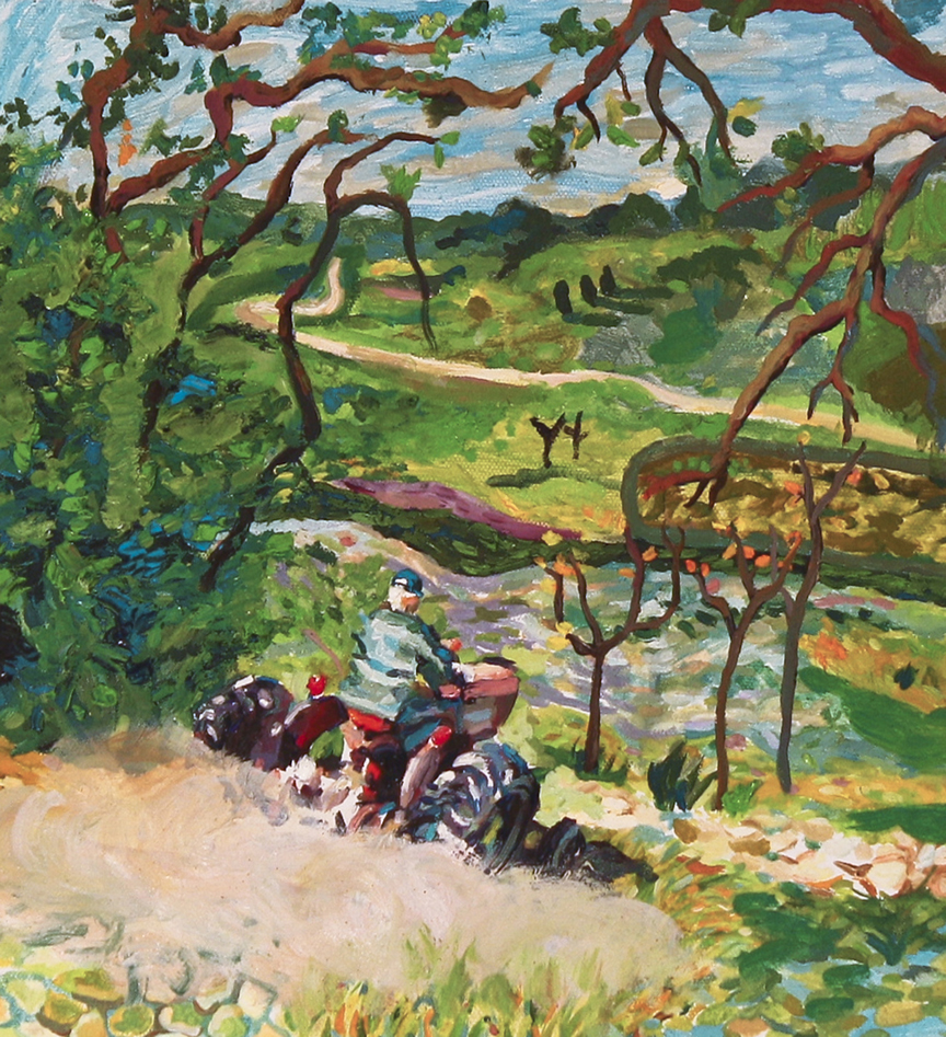 Carrie Riehl  •  Tractor Ride , oil on canvas, 2013, $400