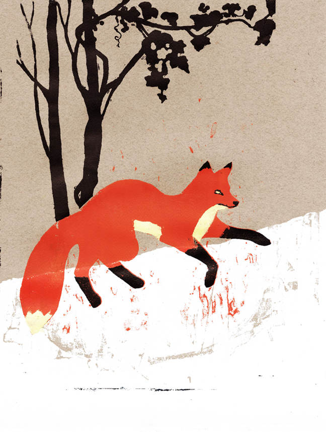 Rosemarie Ruzicka  •  Fox In Snow , silkscreen, 2011, $150 framed  This piece was a part of  Illustrators 55 , a juried exhibition on display at the Museum of American Illustration at the Society of Illustrators in New York, January 2013.