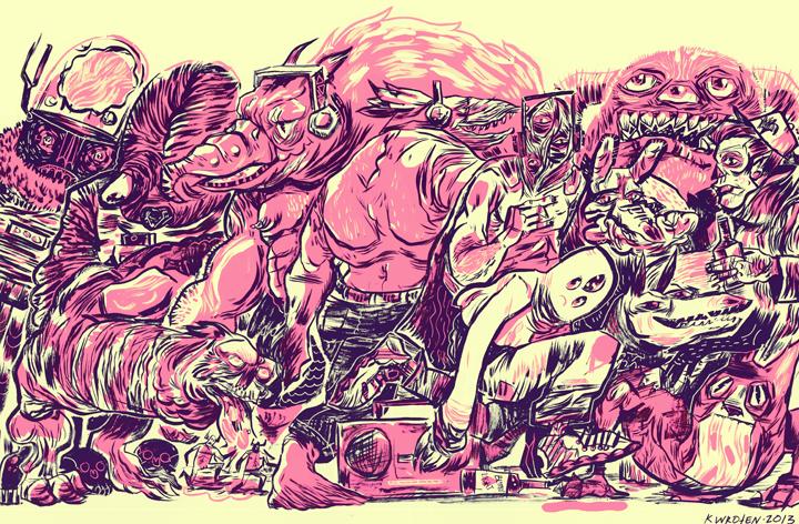 Kelsey Wroten  •  Monster Mash , ink and digital on paper, 2013, $70 framed, $35 unframed