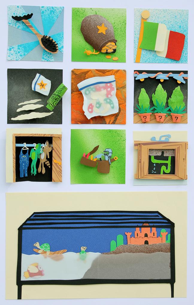 David White  •  It'sa Mario , cut paper and spray paint, 2013, $200