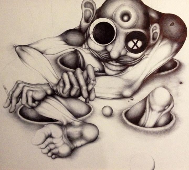 Nathan Hall  •  Troll , ballpoint pen on panel, 2013, $600
