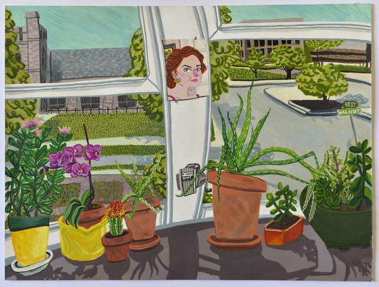 Celina Curry, self portrait with plants.